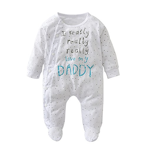 7355d0d62 Derouetkia Newborn Baby Boys Girls Letter I Love My Dad and Mom Rompers  Outfits Pajamas Bodysuit