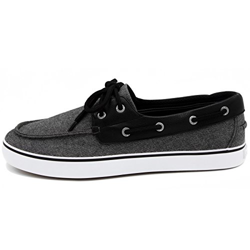 Nautica Men's Galley Lace-Up Boat Shoe,Two-Eyelet Casual Loafer, Fashion Sneaker-Black Chambray-12 by Nautica (Image #1)