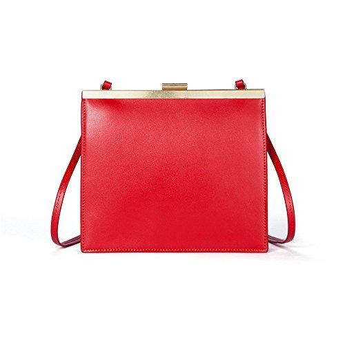 Gules Cuadrada Pequeña GWQGZ De Bloqueo Nuevo Sesgar Bolsa Color Gules Retro Handbag Simple Lady'S Hombro Single wa1xa0ZY