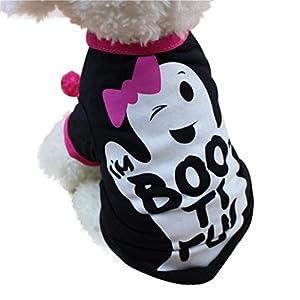 Wakeu Halloween Pet Shirt Small Dog Clothes Pet Puppy Cat Costume Apparel (S, Black)