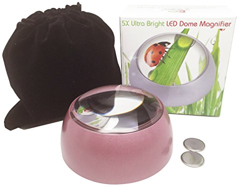 MagniPros 5X Ultra Bright LED Magnifying Glass Dome Magnifier with Cleaning Pouch & 2 Extra Replacement Batteries-Large Viewing Area, Ideal for Reading Small Print, Papperweight, Low Vision(Pink)