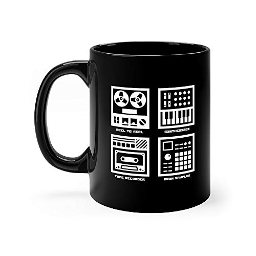 Vintage Sound Recording Music Equipment Icons Set Mastering Tea Mugs Cup Ceramic 11 Oz