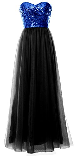 Strapless Women Formal Black MACloth Bridesmaid Sequin Party Dress Gown Blue Royal Long Wedding ZIwqRwd