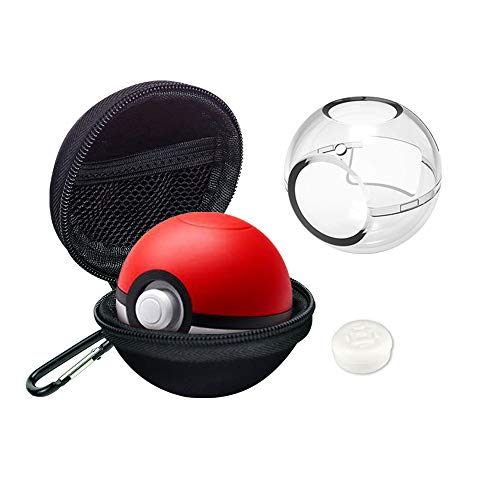 AIVIGO Portable Carrying Case and PC Crystal Cover for Nintendo Switch Poke Ball Plus Controller, 4in1 Accessories Carry Travel Case with Detachable Carabiner for Pokemon Lets Go Pikachu Eevee Game