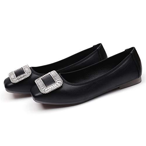 Girl's Women's Ballet Shoes Flat Dancing Slipper Canvas Vamp Leather Sole(Black -Lable 38/7 B(M) US Women)