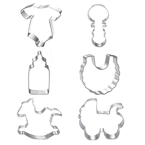 Baby Shower Cookie Cutters, Chokov 6pcs Cookie Biscuit Cutters Stainless Steel - Onesie, Bib, Rattle, Rocking Horse, Baby Carriage, Feeding Bottle