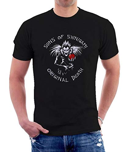 SCRUB GREEN Ultimate Death Note Men's Printed Sleeve Tee Cotton Shirts-Black-M