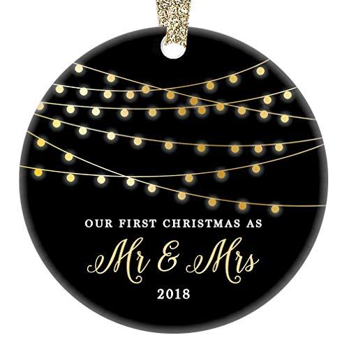 Mr & Mrs First Christmas 2018 Ornament Porcelain Keepsake Gift Idea for Husband Wife 1st Holiday Married Couple Wedding Newlyweds 3