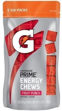 Gatorade Prime Energy Chews Fruit Punch Natural Flavor 5-Sleeves