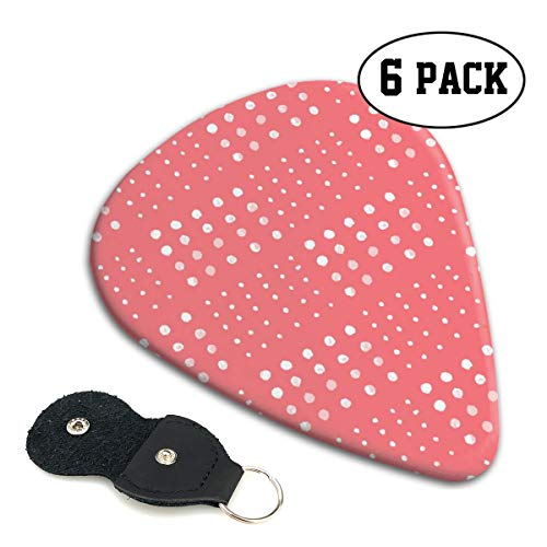 (FJSLIE Pink White Dots Guitar Picks Classic 351 Shape Celluloid Guitar Plectrums,6 Packs in Holder Case for Guitar Bass)