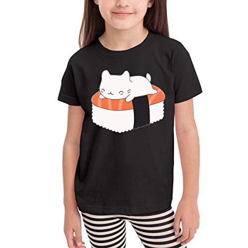 Sushi Cat 2 All Costumes - Short-Sleeve Sushi Cat Shirts for Girls, Ruffled Sweatshirt, 2-6T