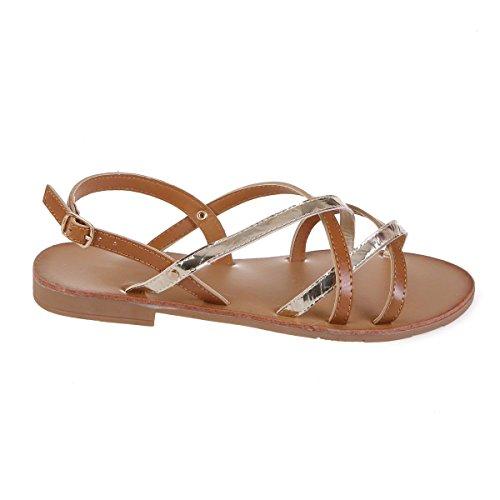 Sandales Plates Cuir Simili croisées La à Modeuse en Camel et Brides doré Verni 1q885E