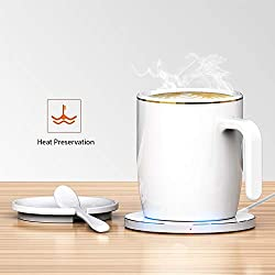 Coffee Heating Mug Coffee Mug Warmer Wireless Thermostat Coffee Mug Cup Keep Warm about Made of Fine Bone China (White)