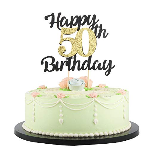 LVEUD Happy Birthday Cake Topper Black Font Golden Numbers 50th Birthday Happy Cake Topper -Birthday Party Decorations (50th)