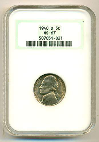 1940 D Jefferson Nickel MS67 NGC (Ngc Jefferson Nickel Mint)