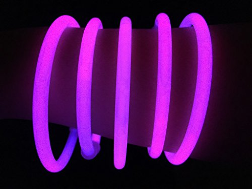 "Glow Sticks Bulk Wholesale Bracelets, 100 8"" Pink Glow Stick Glow Bracelets, Bright Color, Glow 8-12 Hrs, 100 Connectors Included, Glow Party Favors Supplies, Sturdy Packaging, GlowWithUs Brand ()"