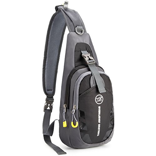 Over Chest (WildX Casual Cross Body Bag Sling Bag Chest Pack with Adjustable Shoulder Strap for Outdoor Cycling Hiking Camping Travel (Black))