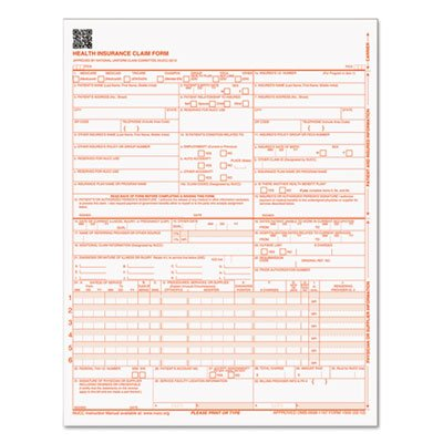 TOPS : CMS Health Insurance Form 1500 Claim, 8-1/2 x 11, 250/Pack, Loose Forms -:- Sold as 2 Packs of - 250 - / - Total of 500 Each