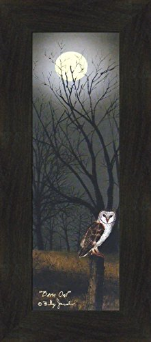 cobs 10x22 Midnight Nightime Full Moon Fence Post Autumn Fall Seasons Framed Folk Art Print Picture (2