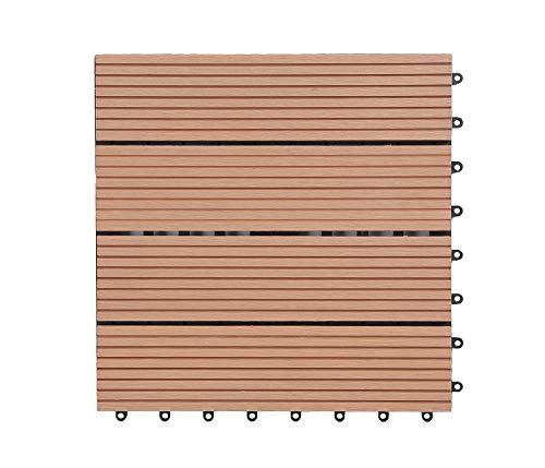GOLDEN MOON Deck Tiles Interlocking Wood-Plastic Composites Patio Pavers 1x1FT 10 Pack Brown by GOLDEN MOON (Image #6)