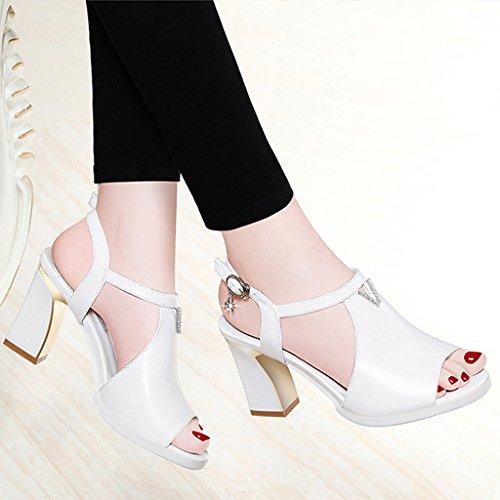 ZHIFENGLIU Waterproof High Women Sandals Thick White Ladies Summer Buckle Casual Shoes Sandals Mouth Heel Fish Heel wwpaHq