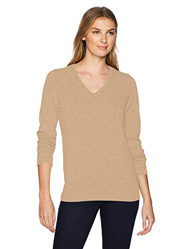Amazon Essentials Women's Lightweight V-Neck Sweater, Camel Heather, Medium