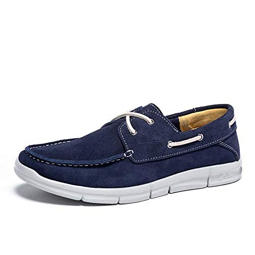 Stringate Vera in Casual Scarpe EU Traspiranti Colore 43 Blu comode da da Pelle Barca da Dimensione Uomo Guida Scarpe pREqY