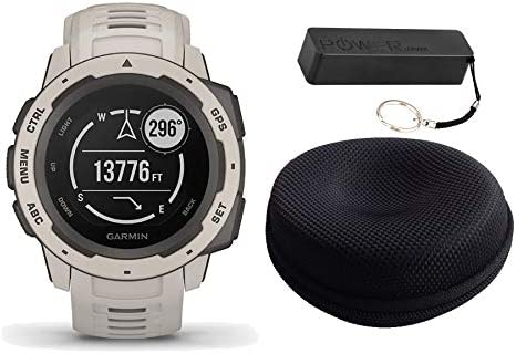 Garmin Instinct Rugged Outdoor Watch Bundle Tundra – Includes Power Bank Watch Case