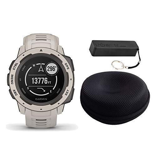 Garmin Instinct Rugged Outdoor Watch Bundle Tundra - Includes Power Bank | Watch ()