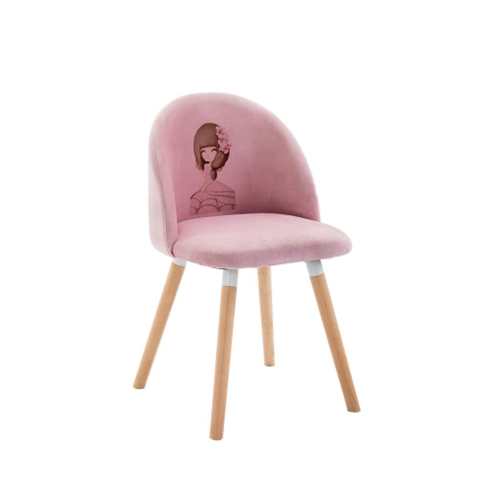A YJWOZ Bedroom Pink Cute Back Stool Suede Makeup Chair Home Solid Wood Desk Chair Sitting Height 45cm2 color Optional Chair (color   B)