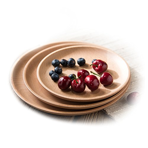 Huluwa Wood Serving Plate, Wood Round Serving Tray, Fruit Dessert Cake Snack Candy Platter Wooden Bowls, Rubber Wood, 9.4