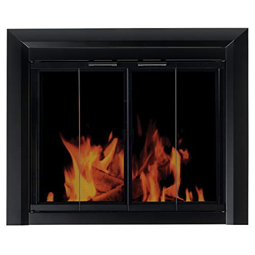 Pleasant Hearth Clairmont Black Fireplace Glass Firescreen Doors - Small