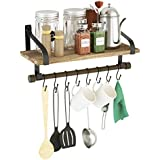Love-KANKEI Wall Shelf for Storage - Rustic Wood Kitchen Spice Rack with Towel Bar and 8 Removable Hooks for Organize Cooking Utensils or Mugs Torched Finish