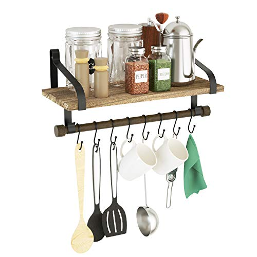 Love-KANKEI Wall Shelf for Storage - Rustic Wood Kitchen Spice Rack with Towel Bar and 8 Removable Hooks for Organize Cooking Utensils or Mugs