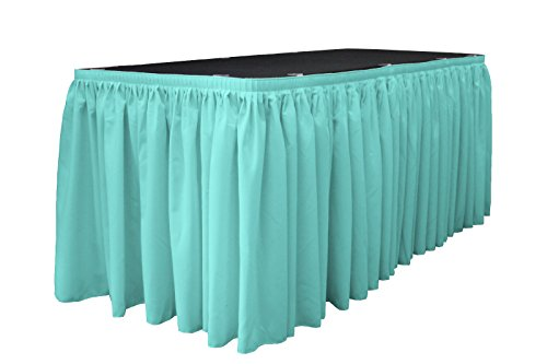 La linen polyester poplin pleated table skirt with 10 for 10 foot table cloths