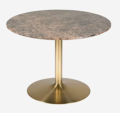 Camino a casa | Mesa de Comedor Aura - Estructura de Hierro y Tapa de marmol de 15 mm | Marron