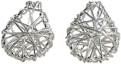 NOVICA .925 Sterling Silver Stud Earrings, 'Teardrop Wrap'