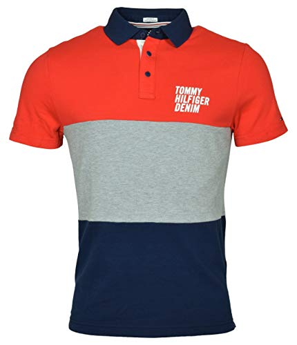 Tommy Hilfiger Men's Custom Fit Pieced Logo Polo Shirt - M - Red/Gray/Navy ()