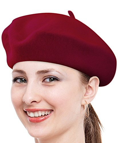 - Solid Color French Wool Beret (Burgundy)