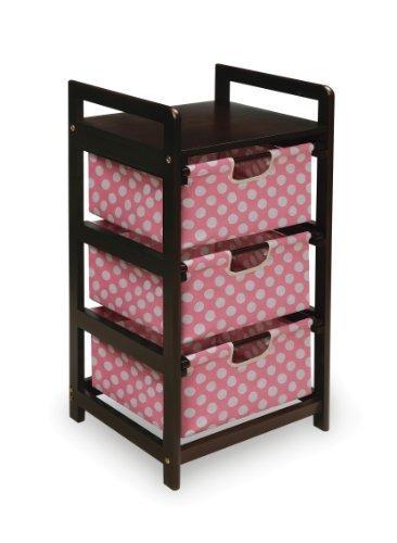 Badger Basket Three Drawer Hamper/Storage Unit, Espresso/Pink by Badger Basket