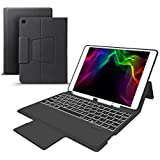 iPad 9.7'' Keyboard Leather Folio Case Compatible with iPad 2018/2017, Air 2 and Air 1, iPad Pro 9.7, Wireless/BT Backlit Keyboard, Slim Portable Magnetic Cover with Pencil Holder (Black)