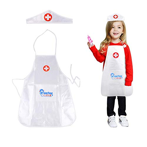 Calmson Kid's Role Play Costume Doctor's Durable Nurse Coats for Kid Scientists Doctors White -
