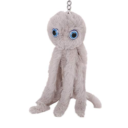 Shineweb Lovely Octopus Long Legs Pom Pom Ball Key Chain Key Ring Keyring Keyfob Handbag Pendant Keychain Charm Light Gray]()