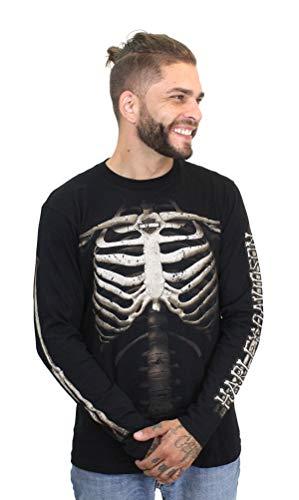 Harley Davidson Halloween (Harley-Davidson Mens Them Bones Rib Cage with B&S Long Sleeve T-Shirt (Medium))