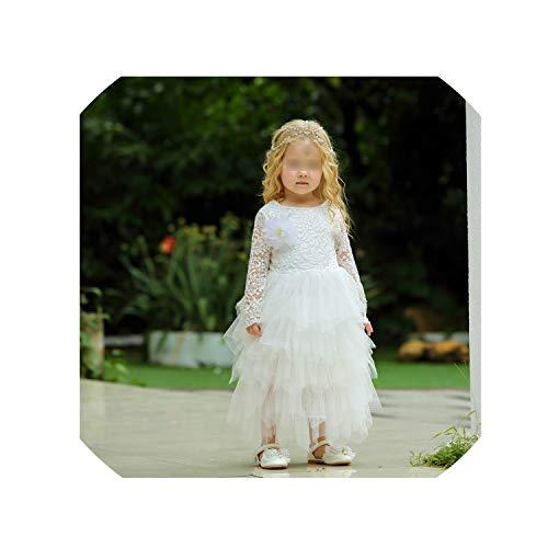 Baby Girls Golden Thread Embroidery Elegant Party Dress for Girls Wedding Dress Kids Dresses for Toddler Girls Christmas Clothes,White,7