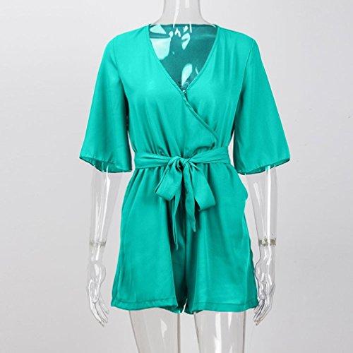 Shorts manches Femmes combinaison combinaison Body Sexy V Vert combinaison cou demi Casual Combi Bodycon blouse Moonuy t Loose moonuy ZBTa6WZ
