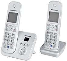 Panasonic KX-TG6822 - Teléfono inalámbrico con 2 microteléfonos (DECT, 30 min, color: Plata, Escritorio, 120 entradas, 103 x 65 Pixeles), [Importado de Alemania] [versión importada]