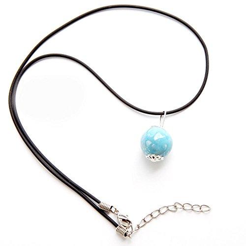 Winter's Secret Handmade Mini Ceramic Bead White Red Blue 3 Color Pendant Necklace Adjust Wax Rope Chain