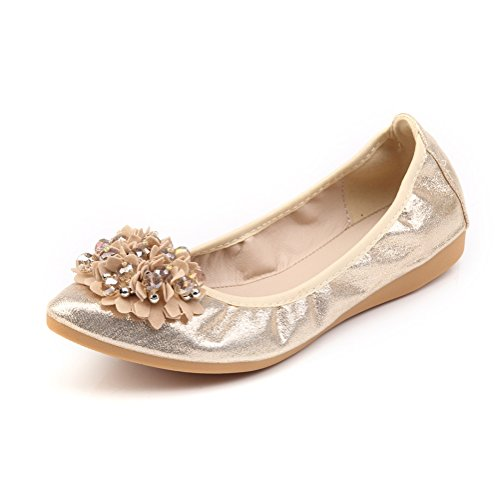 Meeshine Womens Foldable Soft Pointed Toe Ballet Flats Rhinestone Comfort Slip on Flat Shoes (8 B(M) US, Gold 03)