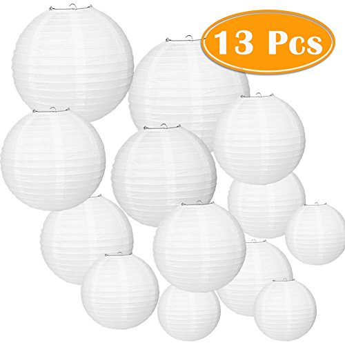 Paxcoo 13 Packs White Paper Lanterns with Assorted Sizes for Wedding Party Decorations -